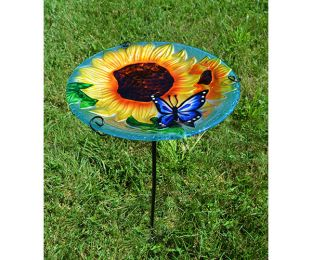 Blooming Sunflower Staked Birdbath