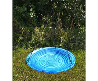 Blue Swirls Hanging Birdbath