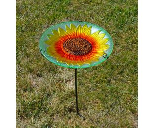 Sunflower Staked Birdbath