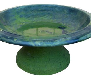 Fiber Clay Bird Bowl w/Small Base Hunter Green