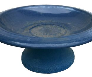 Fiber Clay Bird Bowl with Small Base Navy Blue
